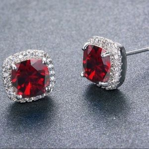 Red Austrian Crystal ruby stud square earrings